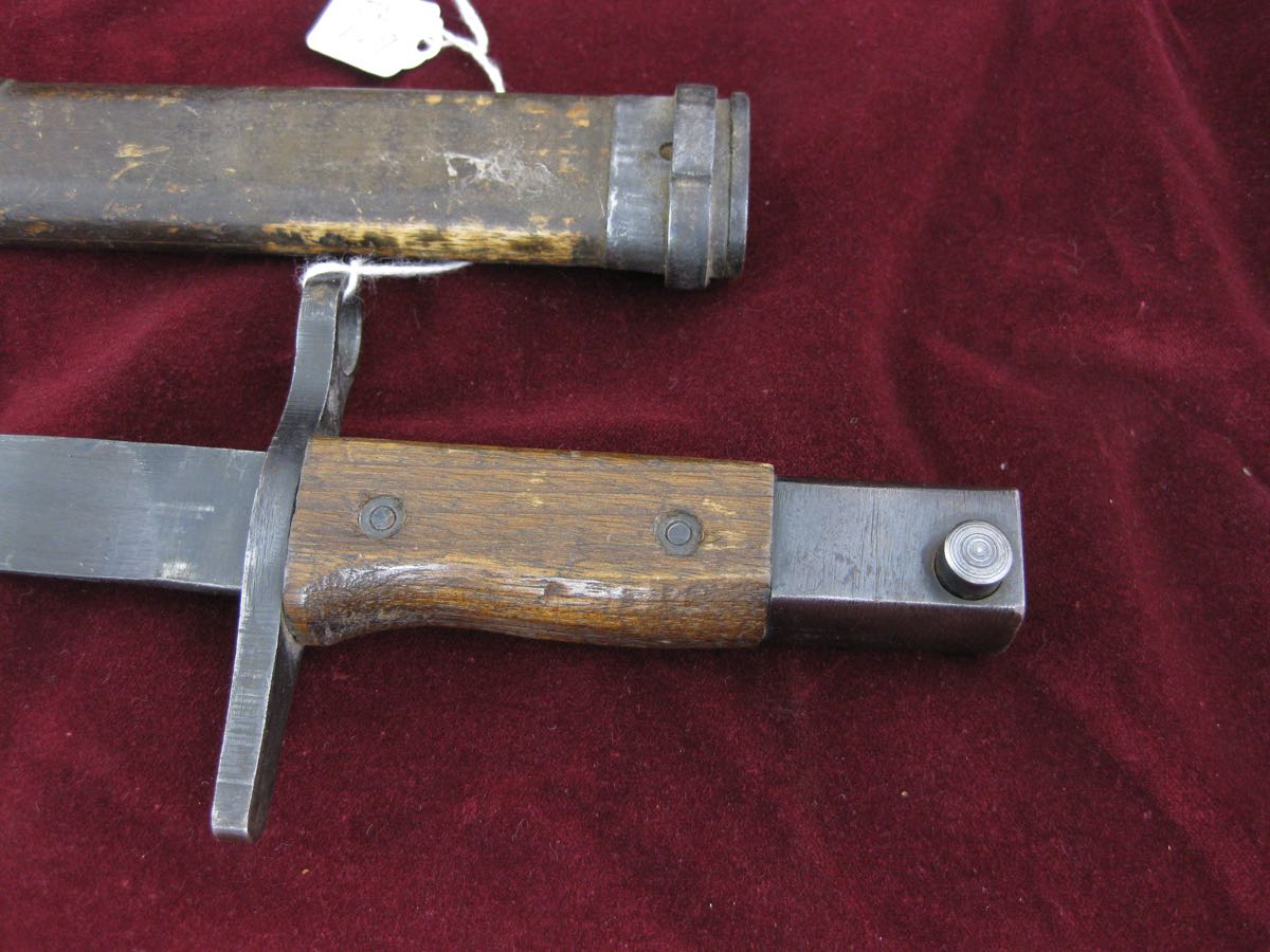Japanese Type 30 combat bayonet with wood scabbard