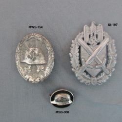 silver wound badge, lanyard badge