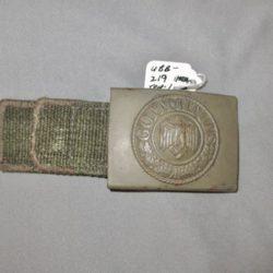 Heer DAK painted belt buckle with green canvas tab.